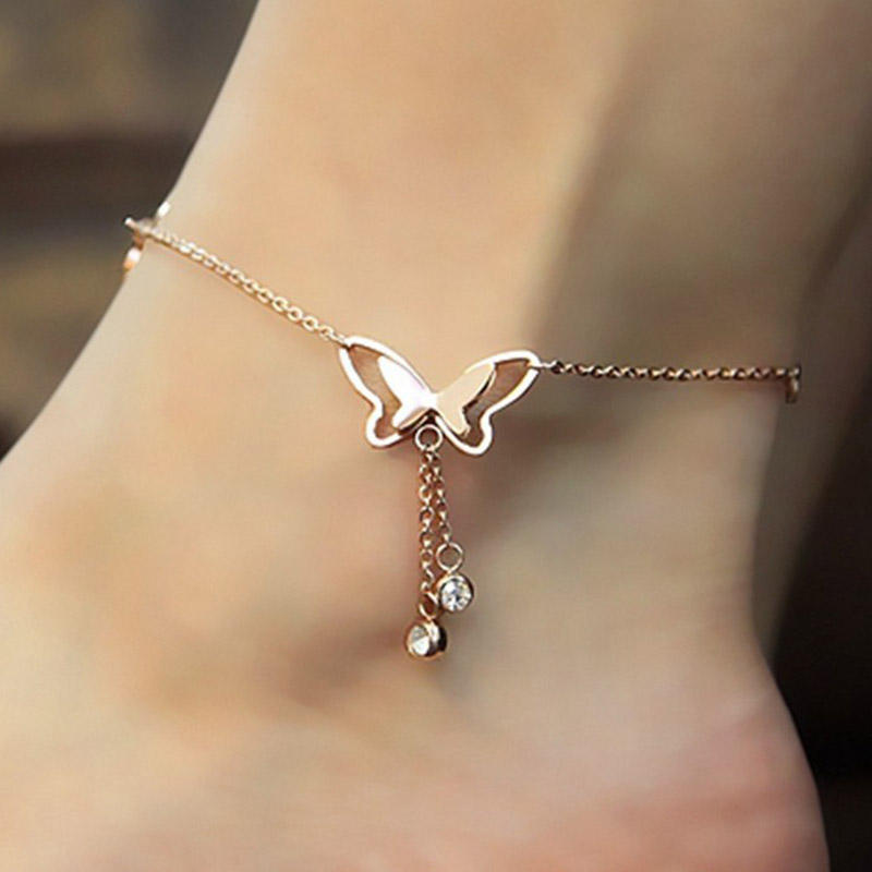 Butterfly Pendant Anklets Foot Chain Summer Yoga Beach Handmade Anklet Rose Gold Silver Color Foot Chain Jewelry