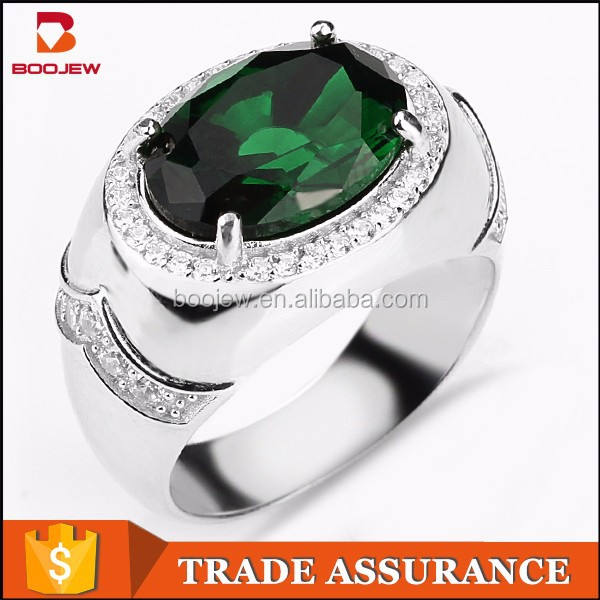 prong setting oval emerald gem stone silver women ring from saudi arabia