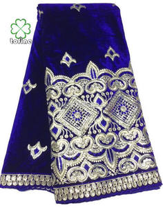 wholesale high quality royalblue gold velvet lace