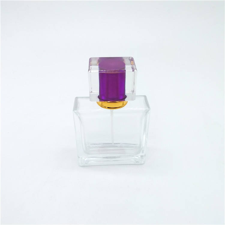 Purple acrylic cap frosted designer refill empty perfume glass bottle 50ml