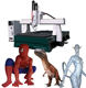 CNC 3d foam cutting machine with big rotary and scanner to make 3d statues sculptures