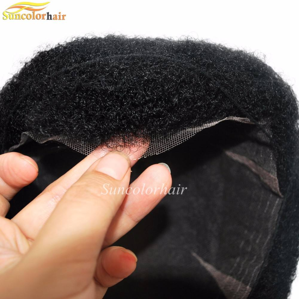 Jet Black Afro Hair for Black Men All French Lace Toupee in stock