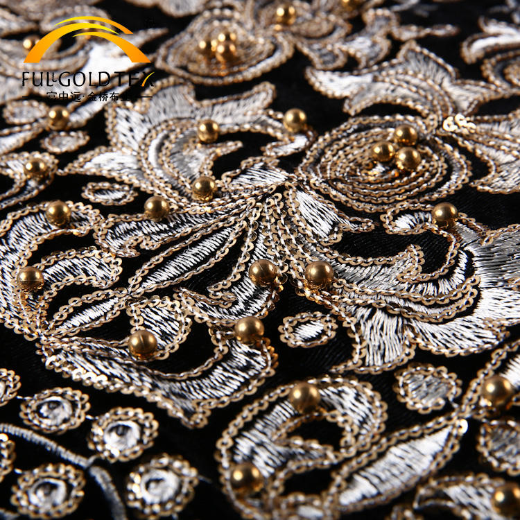 High grade black indian gold sequin embroidery velvet fabric for curtain