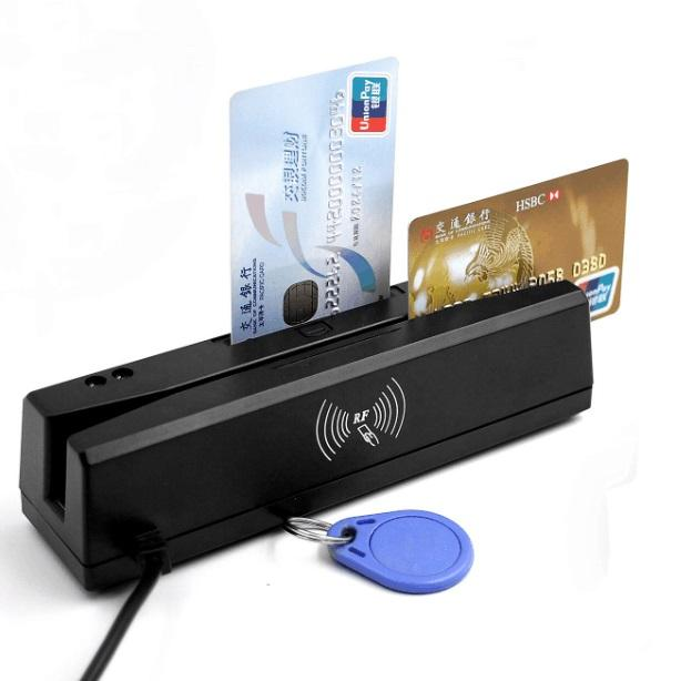 Magneetstrip Card Reader all-in een magnetische kaartlezer 1/2/3 tracks RFID/IC /PSAM reader