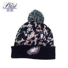 High quality jacquard knitted beanie hat with embroidery patch wholesale