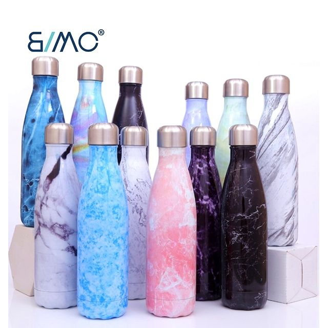 Bimo Hot Sale Camping Hiking Water Bottle With Lid Portable Double Wall Insulated Stainless Steel Cola Shape Sports Water Bottle