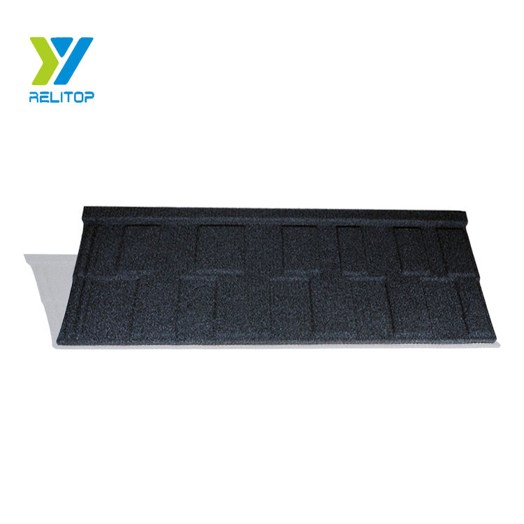 Black roofing shingle/Natural building material stone coated metal roof tile