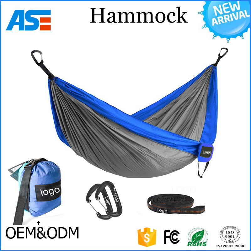 2017 Camping,Beach Portable Parachute nylon Travel 2 person double hammock with aluminum carabiners hammock swings