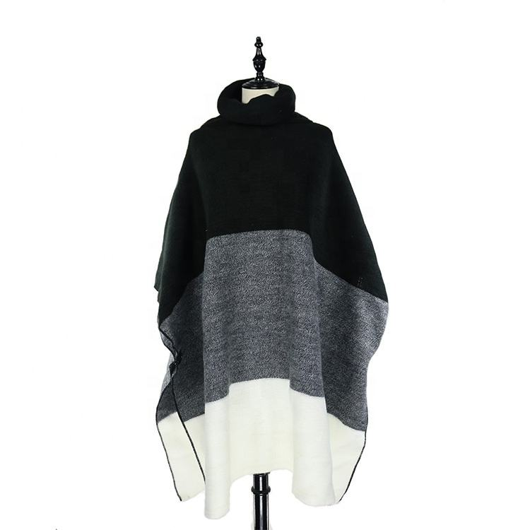 Three Color Big Size Blanket Poncho Cape With Cowl Neck