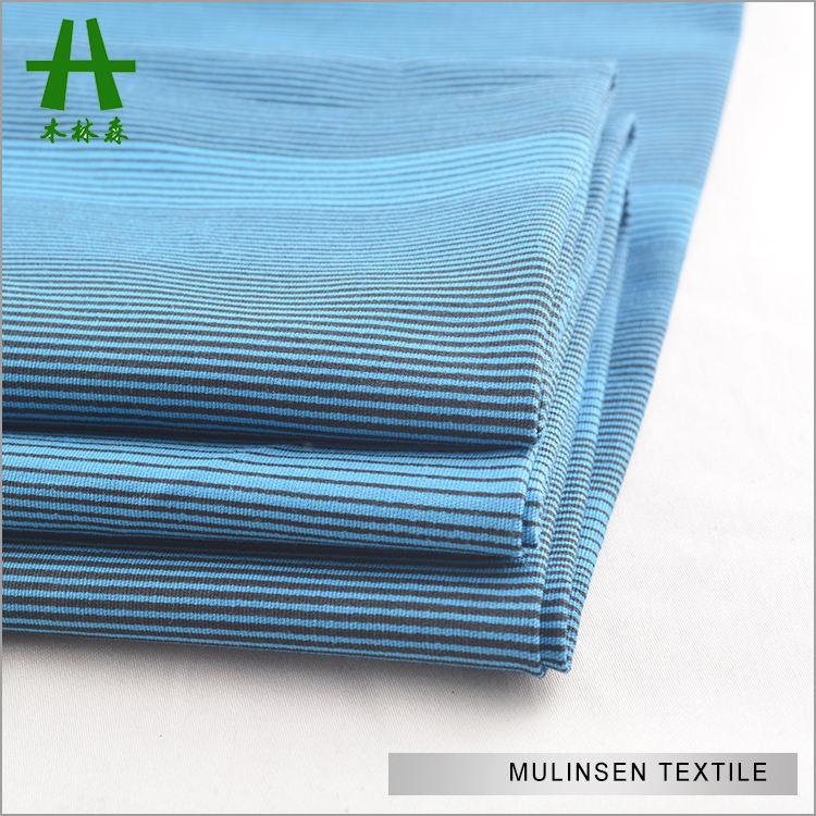 Mulinsen Tekstil Dokuma Spandex Lacivert Şerit Erkek Gömlek Poplin % 100% Pamuk Baskılı Kumaş Toplu