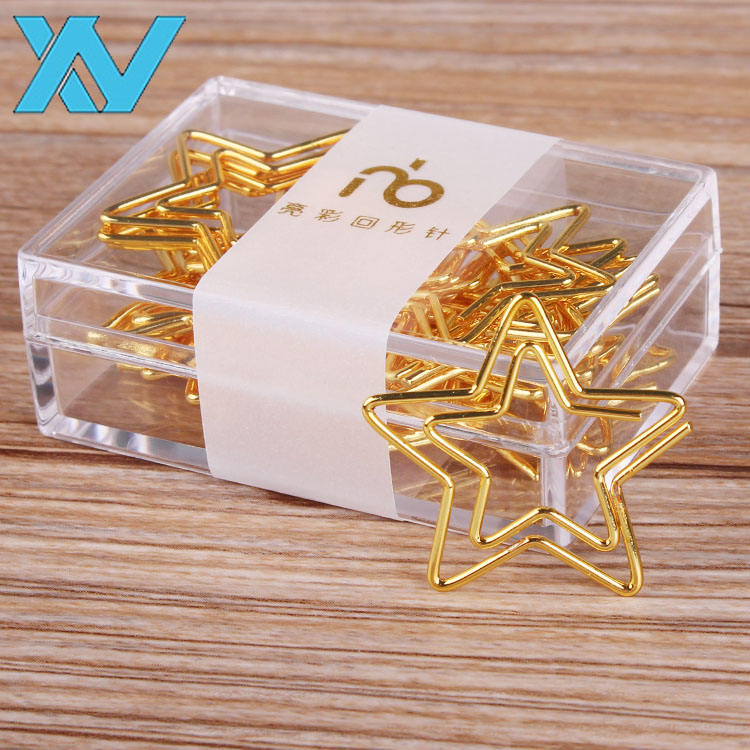 metal wire gold star paper clip bookmark with ABS box