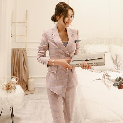2021 Spring Summer Ladies Fashionable Pink Check Suits Elegant Formal Business Blazer Set Women