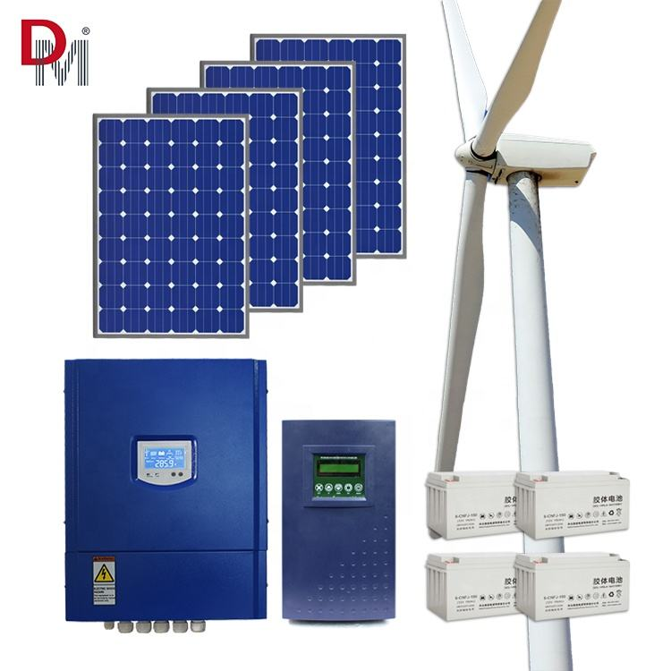 Hot Sale Off Grid Hybrid Solar Wind Power System 3KW Wind Energy System Home With 600W / 1200W Solar Panel
