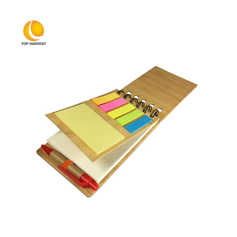 Notebook Bamboo Top Sale Mini Bamboo Cover Hard Cover Eco Friendly Notebook Agenda With Pen And Sticker