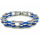 Punk fashion white and blue stainless steel silicone biker motor bracelet man