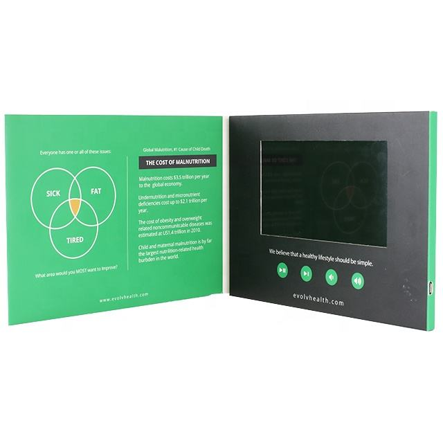 7 inch video 브로셔 책자 components lcd HD 브로셔 module video 인사말 card module from professional 공장