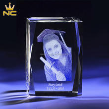 Clear Diamond Cut Crystal 3d Laser Photo Printing For Crystal 3d Custom Graduation Gifts Favors