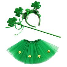 Kids St. Patricks Day Party Tutu Shamrock Dress Headband with Wand Set