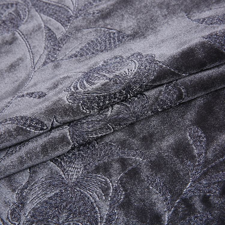 Factory sale garment design heavy velvet embroidery fabric material dress