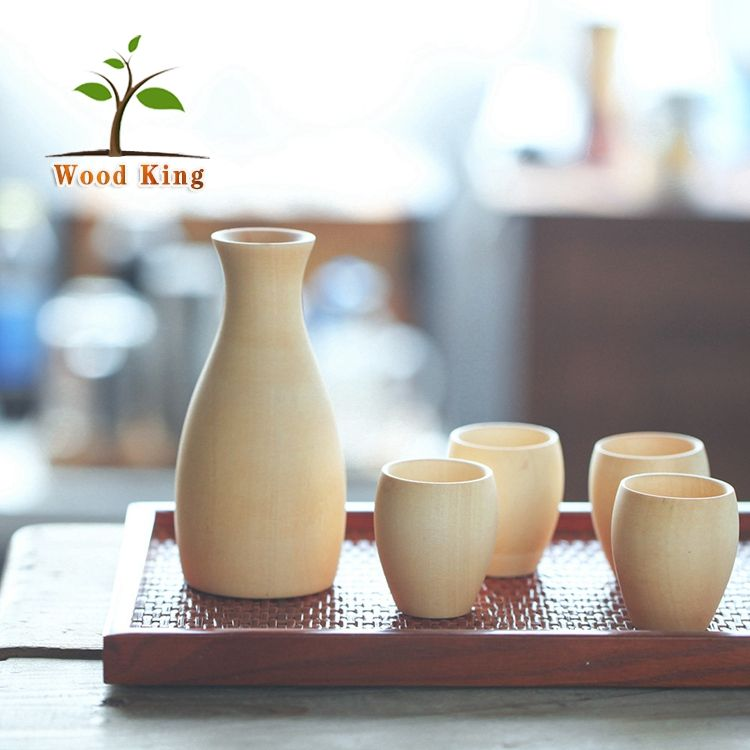 Hot Selling 2017 Solid Wood Sake Cup Wine Set Custom Logo Wine Set