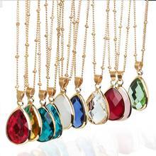 New Crystal Fashion Water Drop Copper Plated Pendant Necklace Jewelry Women