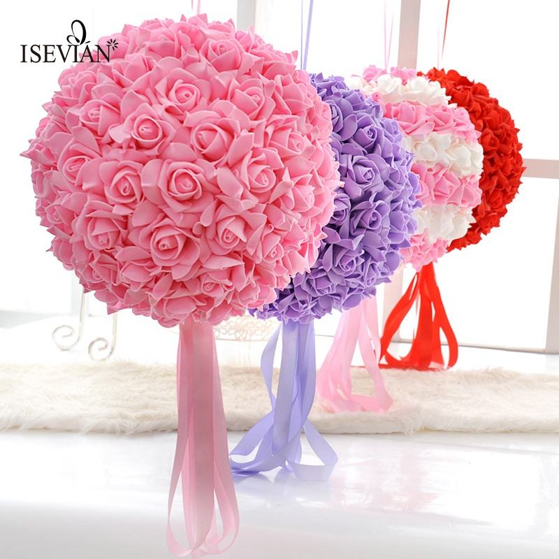 ISEVIAN Artificial Hanging Decorative Quality Silk Flower Ball Wedding Party stage Decoration PE Foam Rose Flower Ball