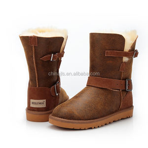 factory direct selling top quality printed super warm fashionable comfortable Sheepskin Wool snow Boots shoes for women