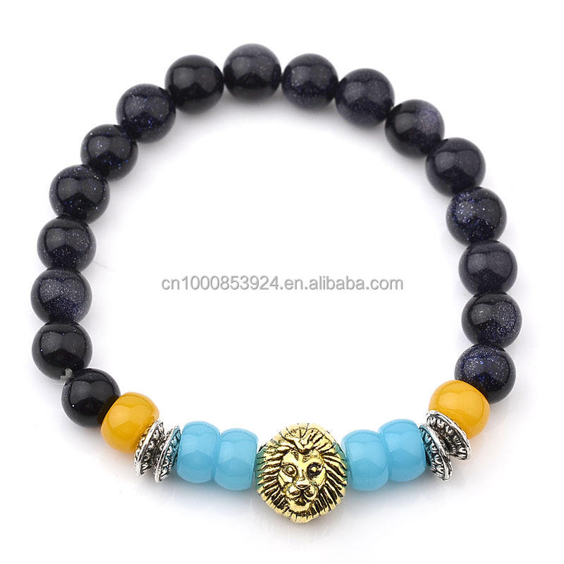 Gemstone Beaded Bracelet For Men Lion Head Charms Black Lava 7 Chakra Healing Balance Stretch lion head bracelet