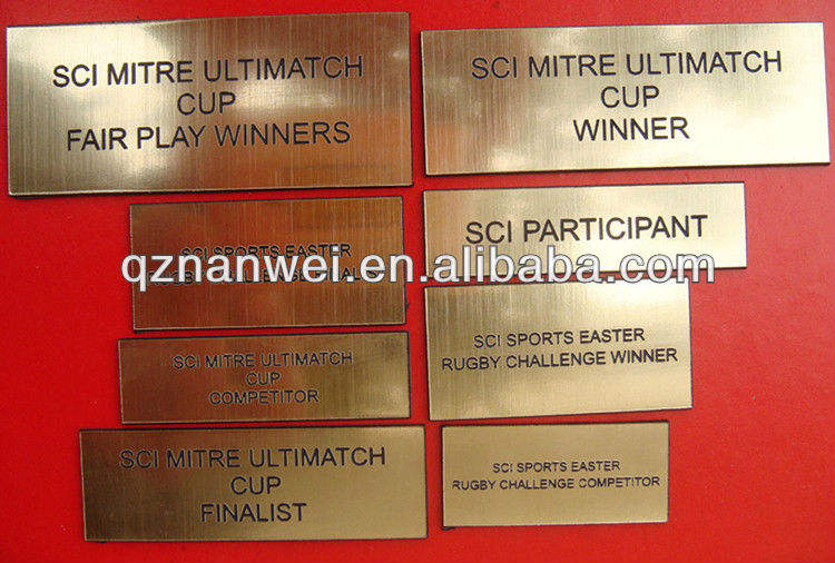 Metal name plate for resin sports trophy