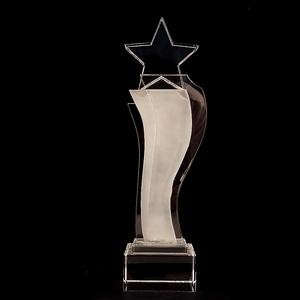 Excellent K9 Glass Crystal Award Souvenir Gift Custom Crystal Trophy Star Tower With Clear Base