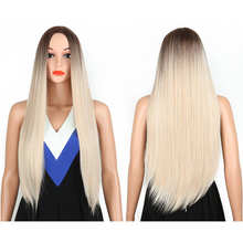 2021 High Quality Beautiful Synthetic  Long Straight  Hair Lace Blonde Wig