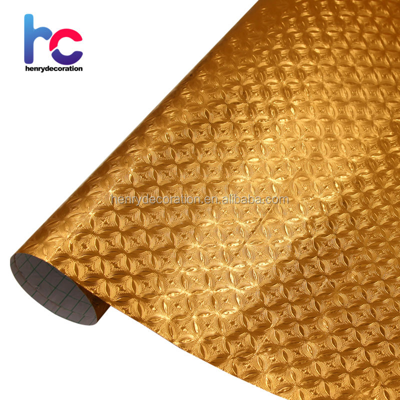 Gold Color Self Adhesive Vinyl Contact Paper, Self Adhesive Foils for Home furniture