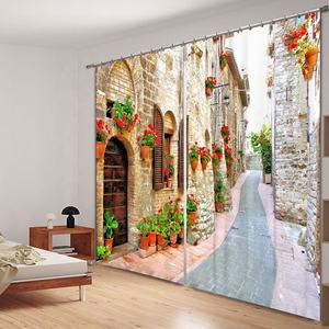 Building Design 3D Digital Printed Hotel Blackout Ready Made Window Curtain For Living Room