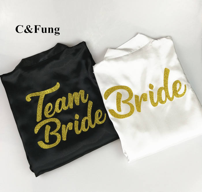 C&Fung design BRIDE TEAM BRIDE Robe glitter gold letters bridal shower bride to be bachelorette bridesmaid bridal party robes