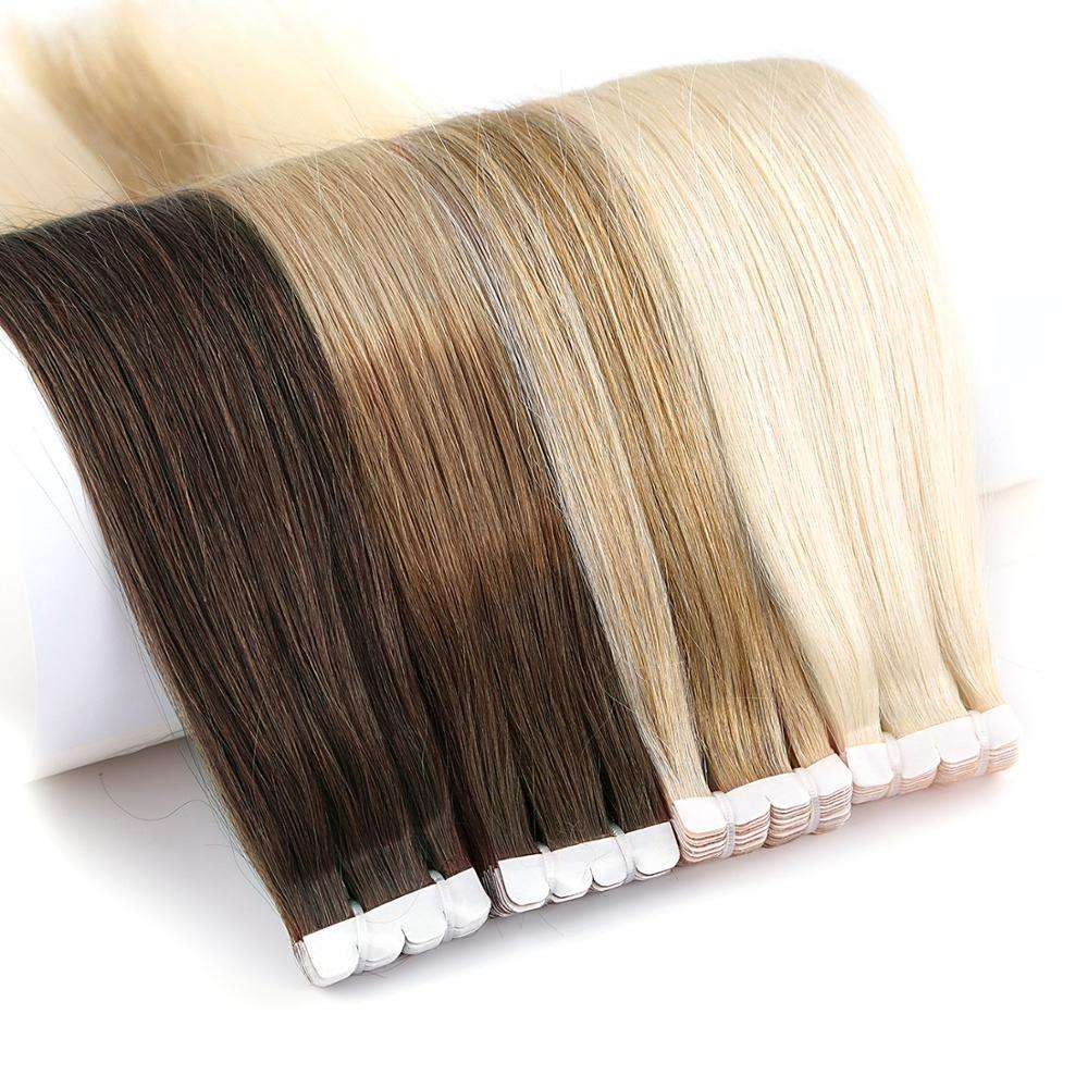 K.SWIGS 100% ยุโรปเทปตรง Remy ฉีด Balayage Cuticle Human Hair EXTENSION