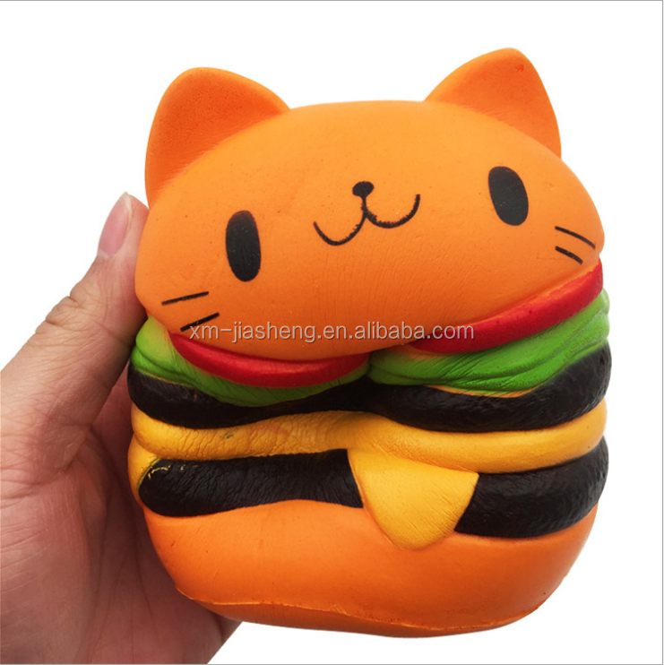 Soft Jumbo Slow Rising squishies Kawaii Cat Hamburger Cream Scented Squishy Toy for Stress Relief