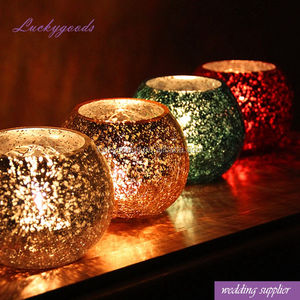 LG20180301-10 colorful glass ball shape mosaic candle holder for indoor decoration