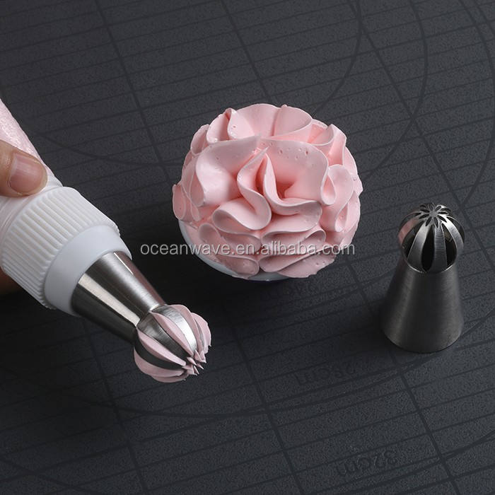 Amazon Ebay Hot Sale Bola Renda Kue Bunga Torch Tas Baking Cupcake Kue Dekorasi Kue Rusia Icing Piping Tips Nozel