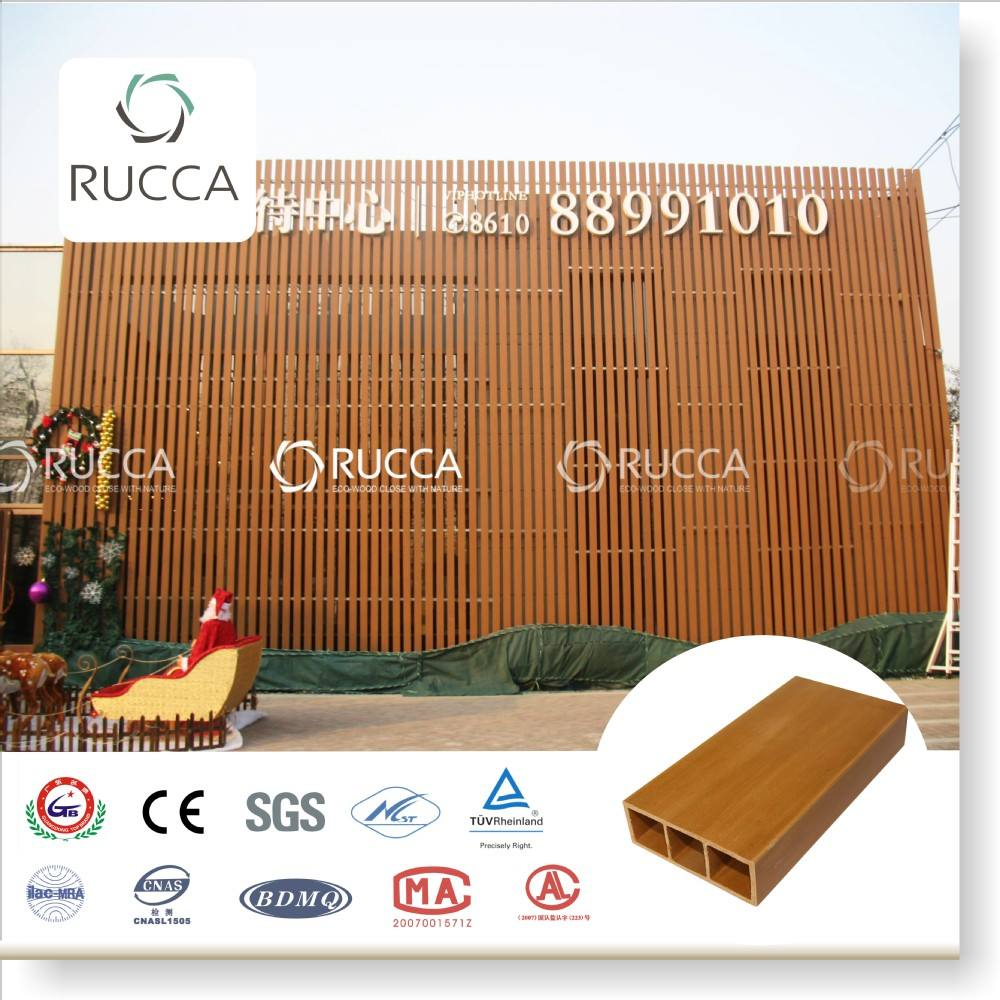 Foshan Rucca WPC teak wood timber tube, exterior wall cladding sheet 100*35*4mm China Supplier