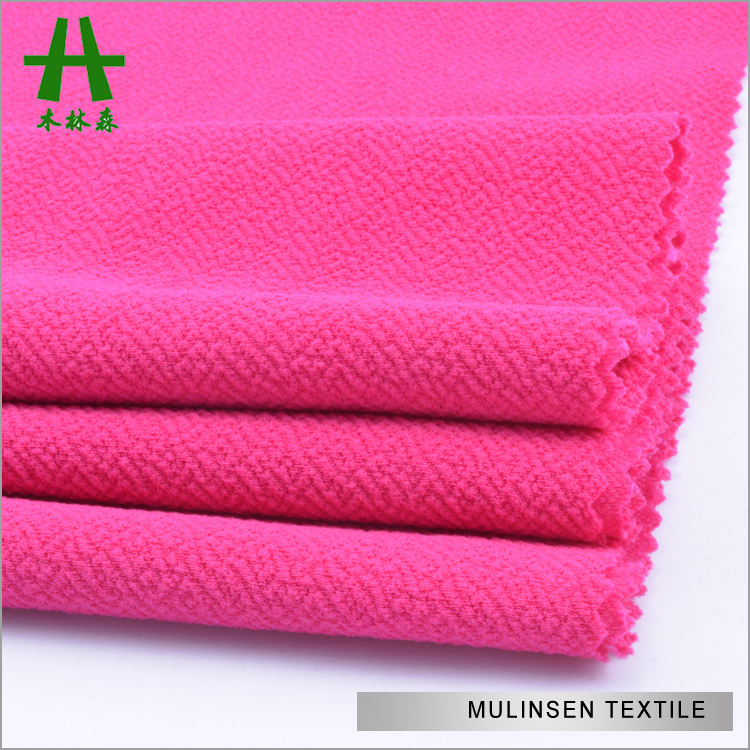 Mulinsen Textile Solid Dyed Polyester Spandex Jacquard Moss Crepe Knit Liverpool Cheap Fabric