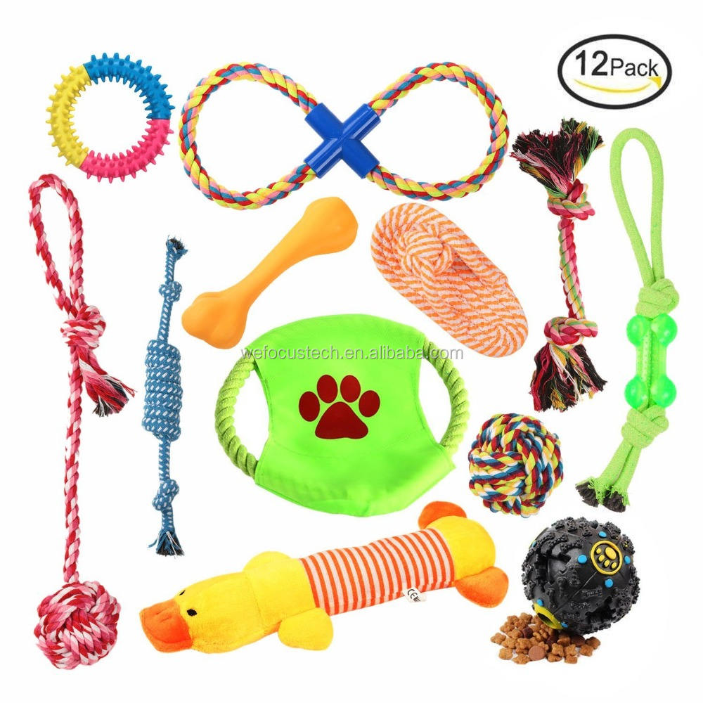 Wholesale 12 packs dog rope toys Durable Chewing Dog Toy set interactive dog toy