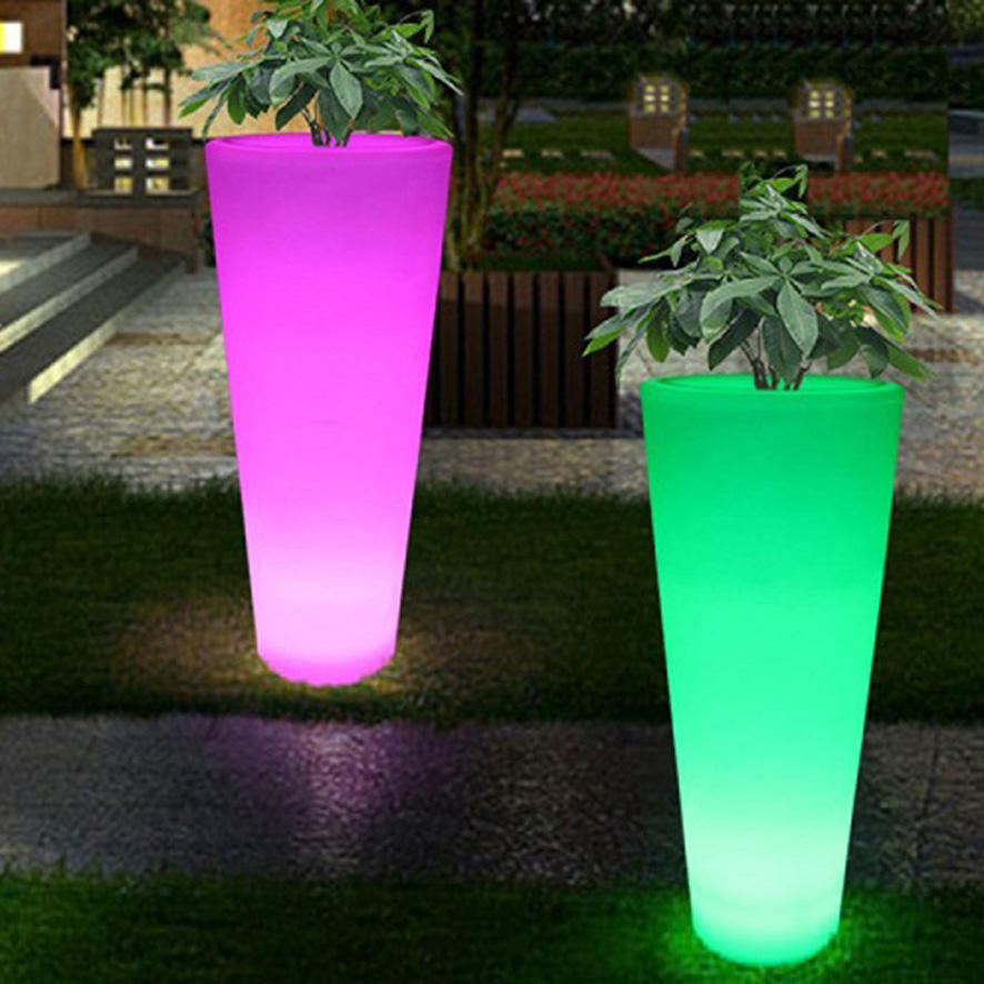 Remote control color changing led flower pot