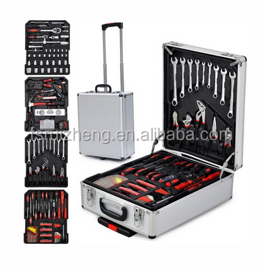 186 pcs tool kits ABS aluminum trolley tool case