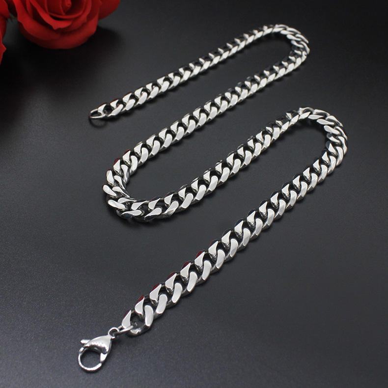 Rough Mens Titanium Chain Curb Cuban Link Stainless Steel Necklace
