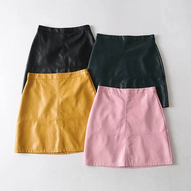 Z12442A 2020 sexy mature women pure color PU faux leather a-line skirt