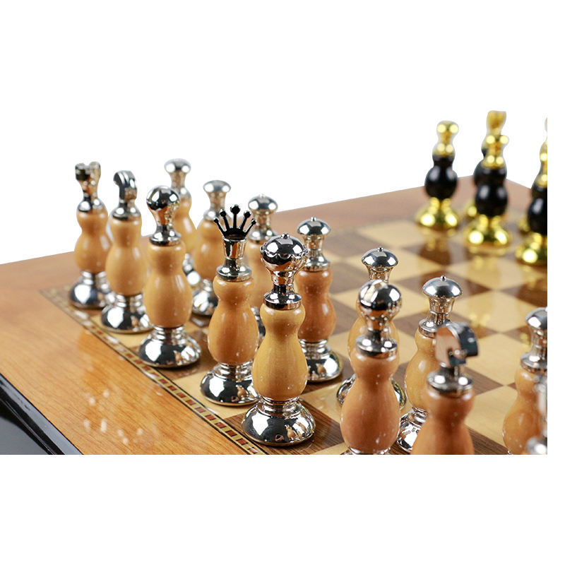 "16"" Luxury Marbling Piano Paint wooden chess set metal chess with pieces storage"