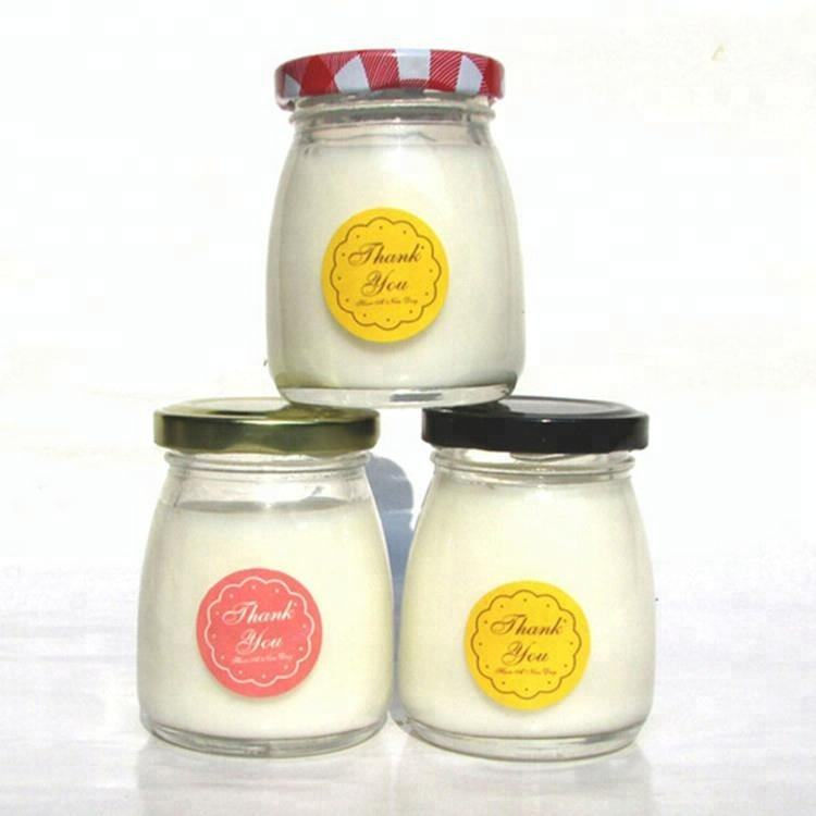 100ml Wholesale Cute jam/ yogurt/ pudding glass jar/ bottle/ container with metal screw lid