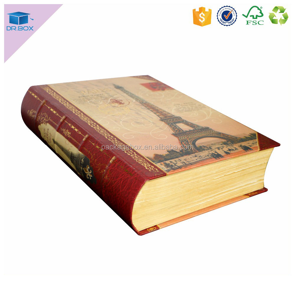 China promotion luxury classic book shape storage box /book like boxes with wood grain paper for spine round paper box