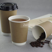 Thick disposable leakproof double wall kraft paper biodegradable coffee cup