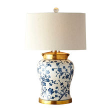 Antique Australia Lighting Furniture Corridor Decorative Handcrafted Blue Dogwood Crackled Ceramic Table Lamp With Copper Base
